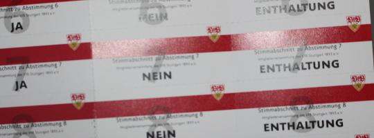 Abstimmkarte des VfB Stuttgart